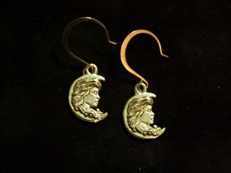 Lady in the Moon Earrings by TheJugulateJeweler