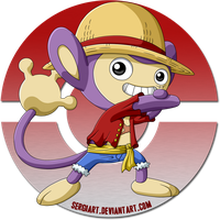 One Piece x Pokemon - Luffy x Aipom by SergiART