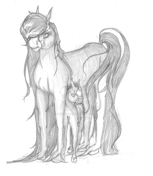 Protective of her young. by Meenieminnimo