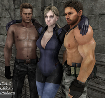 Jill, Chris and Wesker by Dina-Valentine
