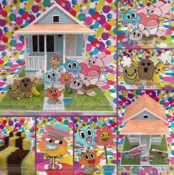 Gumball's House Cake by ginas-cakes