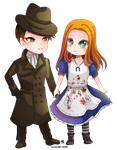 -- Chibi couple Commission for MrTMABird -- by Kurama-chan