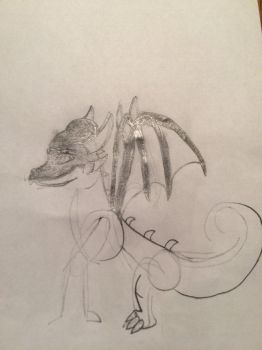My drawing of Obsidian so far... by ObsidianTheDragoness