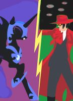 Nightmare moon vs Alucard minimalist poster by MysticWonderingWoman