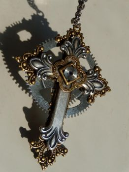 Steampunk cross pendant by Hiddendemon-666