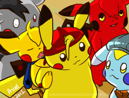Pikachu Line up by AxMongrel