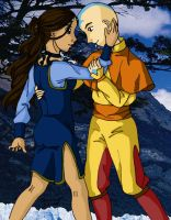 Katara and Aang dancing colour by Mikha