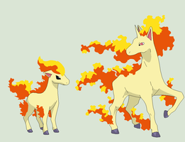 Pokemon Base 84~Ponyta and Rapidash 1~ by Xbox-DS-Gameboy