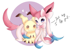 Mimikkyu and Sylveon by Niniibear