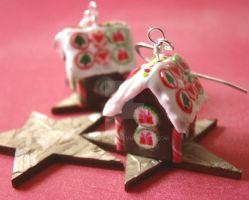 Gingerbread House Earrings by PetitPlat