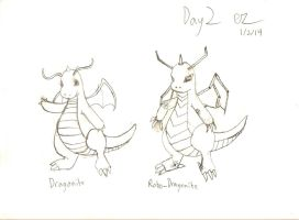 Day 2: Dragonite and Robo Dragonite Lineart by Ezekeil42