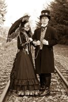M and J Steampunk costumes 02 by Majoh