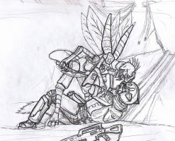 Jyyk'Tiir Fight-Uncolored by Aliies