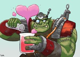 Painboy brewing a love potion by Lutherniel