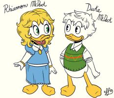 Rhiannon and Duke McDuck by scroogerello