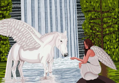 Pegasus and an angel by ArtfullyArty