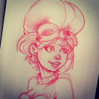 Steampunk Girl Sketch by Pencilbags