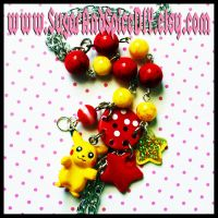 Pickachu Cluster Necklace by SugarAndSpiceDIY