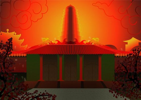 Temples sunset by FortIron