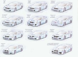 Evolution of Lancer EVO by KingOfShu