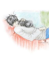 [DeathNote] L and a Cat by layann