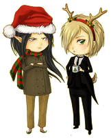 Chistmas Mikhail and Ryuusei by ladymeow