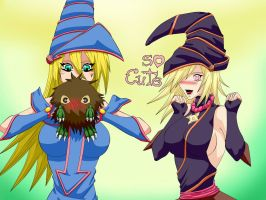 Dark Magician Girl, Gagaga Girl and Kuriboh by War-Off-Evil