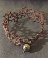 Grey and red tatted bracelet by Erzsabet