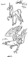 Mythical Creatures Sketches by GingaAkam