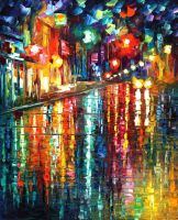 The blur of the rain by Leonid Afremov by Leonidafremov
