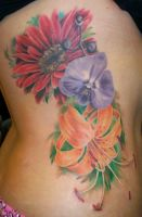 Flowers on ribs by Dripe