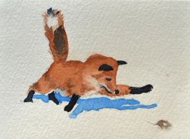 ATC Fox Chase by waughtercolors