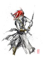 Girl Ronin with red hair by MyCKs