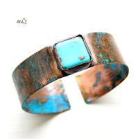 Soft Copper Bracelet Cuff with Magnesite by IoannaEvans