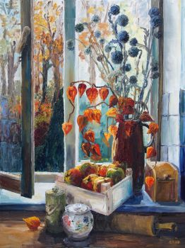 Autumn At The Kitchen Window by BarbaraPommerenke