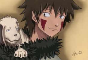 Kiba and Akamaru colored by TrueFace