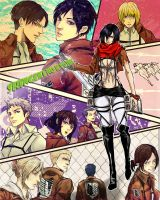 Shingeki no Kyojin characters by Purple-Meow
