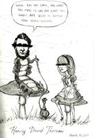 Thoreau and I in Wonderland by decomposerdoll