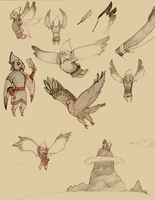 Quill sketches by Hachiwara