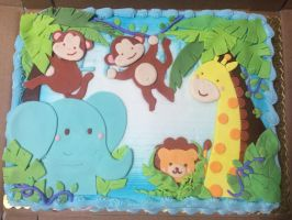 Sufari Themed baby shower cake by Corselia