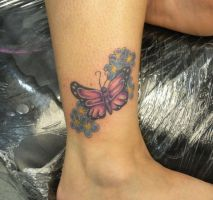 forget me nots and butterfly by PainlessJames