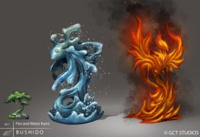 BUSHIDO - Fire and Water Kami by dinmoney
