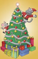 Cat and Mouse Christmas Card by Buzz-On