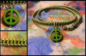 Give Peace a Chance Choker  ~Green/Silver~ by RavingEagleMedia