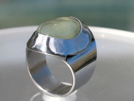 Prehnite Ring,with stainless steel bezel by ou8nrtist2