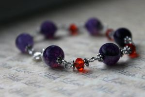 Purple Bead and Red Crystal Bracelet by Clerdy