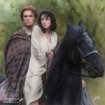 Jamie and  Claire on horseback by Kath-13