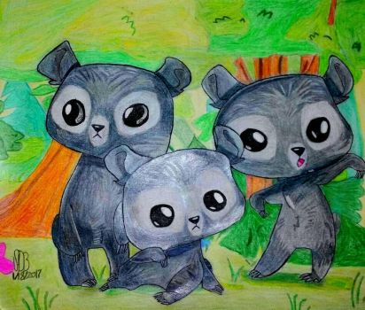 The Triplets In Their Bear Form  by WowLovely88