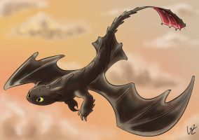 Toothless - digital colors by Tremotino