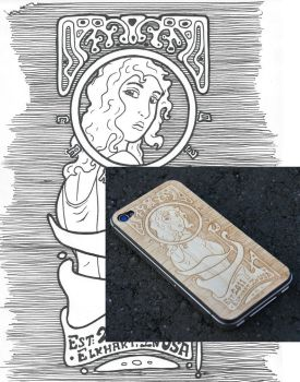 Art Nouveau style for Wood iPhone Skin engraving by augiewan
